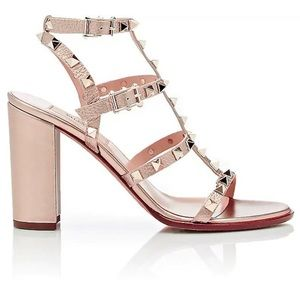 Valentino Rose Gold Caged High Heel Sandal